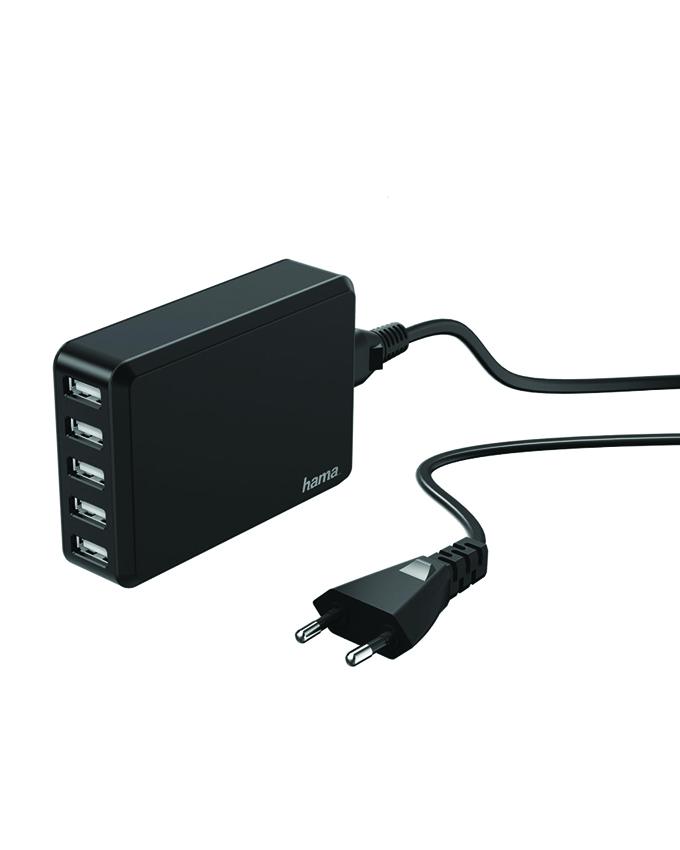 hama 5 usb port charging station black gametroniq. Black Bedroom Furniture Sets. Home Design Ideas